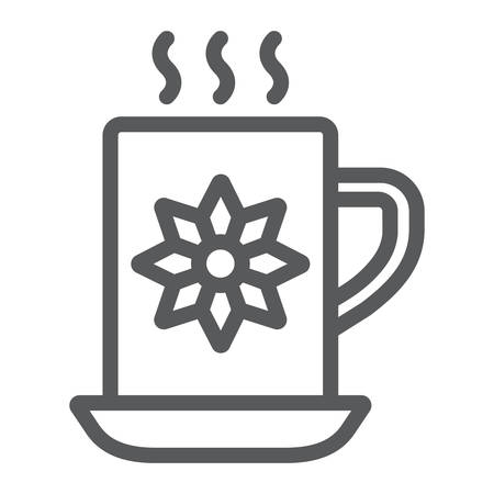 Cocoa cup line icon, sweet and drink, hot mug sign, vector graphics, a linear pattern on a white background. Ilustração