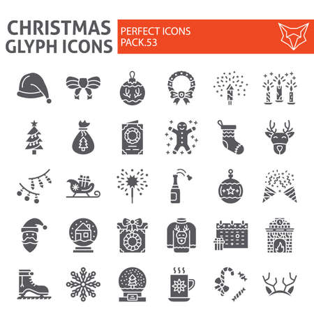Christmas glyph icon set, holiday symbols collection, vector sketches, new year signs solid pictograms package isolated on white background. Ilustração