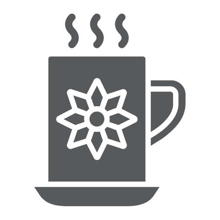 Cocoa cup glyph icon, sweet and drink, hot mug sign, vector graphics, a solid pattern on a white background.