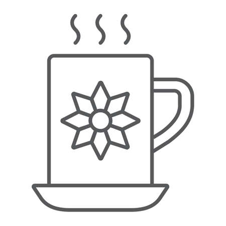 Cocoa cup thin line icon, sweet and drink, hot mug sign, vector graphics, a linear pattern on a white background.