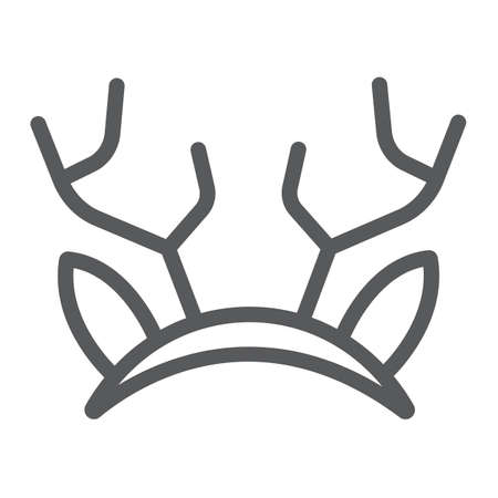 Reindeer ears mask line icon, holiday and decor, party mask sign, vector graphics, a linear pattern on a white background.
