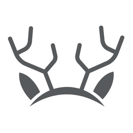 Reindeer ears mask glyph icon, holiday and decor, party mask sign, vector graphics, a solid pattern on a white background.