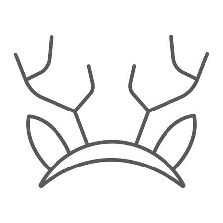 Reindeer ears mask thin line icon, holiday and decor, party mask sign, vector graphics, a linear pattern on a white background. Ilustração