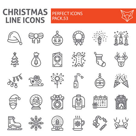 Christmas line icon set, holiday symbols collection, vector sketches, new year signs linear pictograms package isolated on white background.