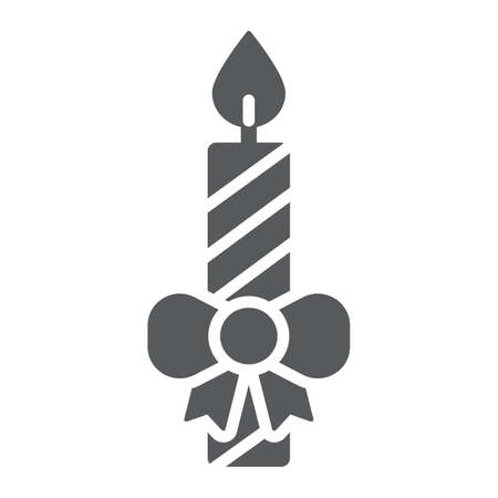 Christmas candle glyph icon, christmas and decor, candlelight sign, vector graphics, a solid pattern on a white background. Illusztráció