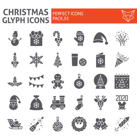Christmas glyph icon set, holiday symbols collection, vector sketches, new year signs solid pictograms package isolated on white background. Иллюстрация