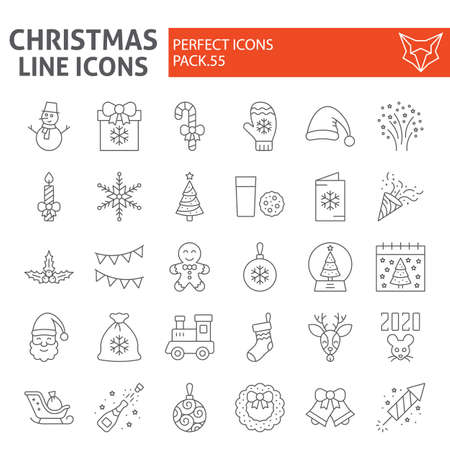 Christmas thin line icon set, holiday symbols collection, vector sketches, new year signs linear pictograms package isolated on white background.