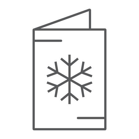 Christmas card thin line icon, decor and new year, festive postcard sign, vector graphics, a linear pattern on a white background.  イラスト・ベクター素材