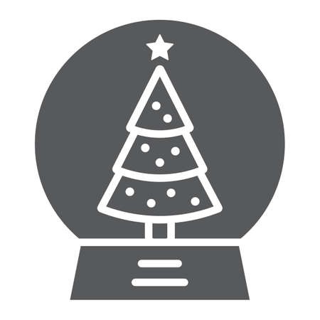Snow globe glyph icon, christmas and new year, glass sphere sign, vector graphics, a linear pattern on a white background.