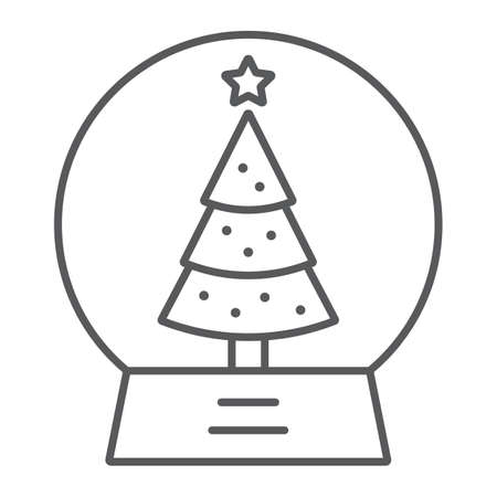 Snow globe thin line icon, christmas and new year, glass sphere sign, vector graphics, a linear pattern on a white background. Иллюстрация