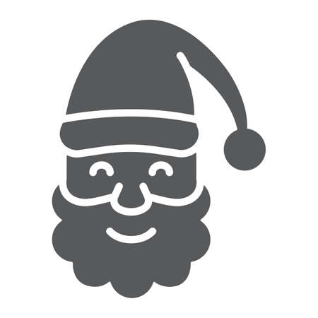 Santa Claus glyph icon, christmas and new year, character face sign, vector graphics, a solid pattern on a white background.