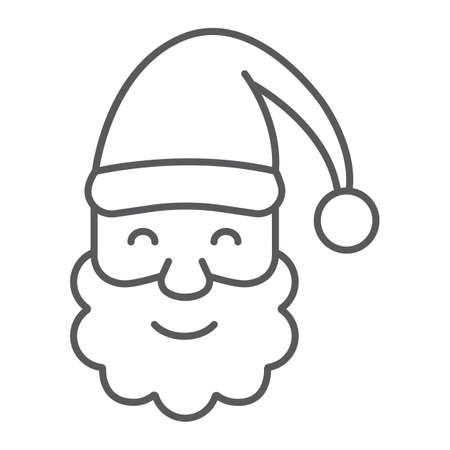 Santa Claus thin line icon, christmas and new year, character face sign, vector graphics, a linear pattern on a white background.  イラスト・ベクター素材