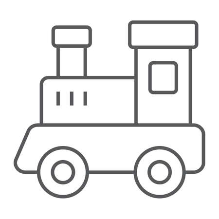 Train toy thin line icon, child and railroad, locomotive sign, vector graphics, a linear pattern on a white background