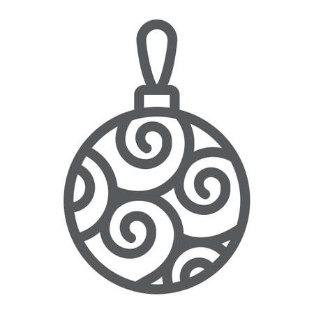Christmas tree ball line icon, party and new year, glass toy sign, vector graphics, a linear pattern on a white background.