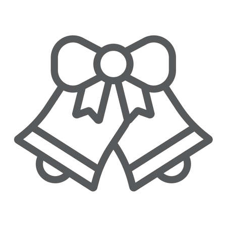 Christmas bell line icon, xmas and design, handbell sign, vector graphics, a linear pattern on a white background,