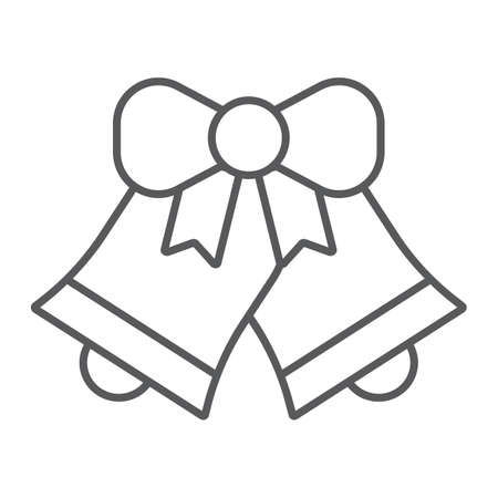 Christmas bell thin line icon, xmas and design, handbell sign, vector graphics, a linear pattern on a white background,