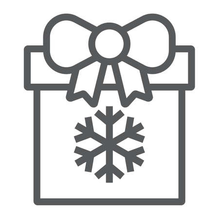 Christmas box line icon, present and new year, present package sign, vector graphics, a linear pattern on a white background. Ilustração