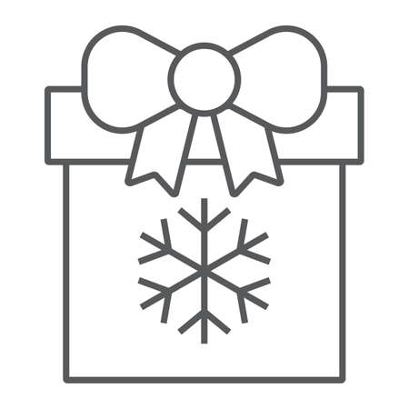 Christmas box thin line icon, present and new year, present package sign, vector graphics, a linear pattern on a white background. Imagens - 130156253