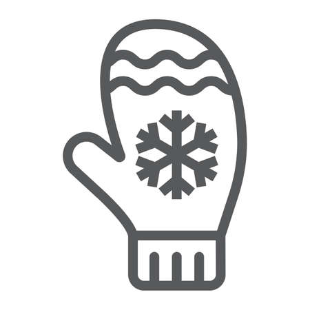 Mitten line icon, winter and clothes, glove sign, vector graphics, a linear pattern on a white background