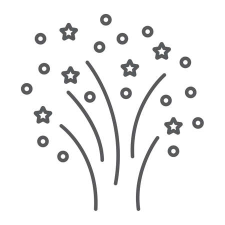 Christmas firework thin line icon, party and new year, firecracker sign, vector graphics, a linear pattern on a white background.