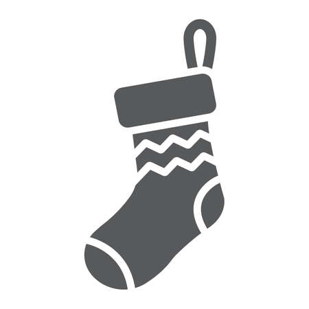 Christmas sock glyph icon, decor and new year, festive stocking sign, vector graphics, a solid pattern on a white background.