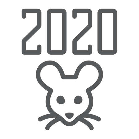 2019 rat year line icon, celebration and christmas, calendar sign, vector graphics, a linear pattern on a white background  イラスト・ベクター素材
