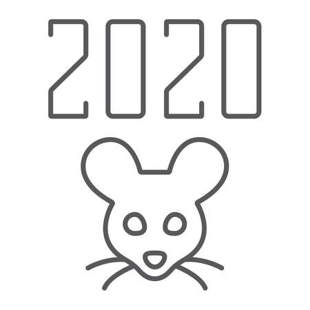 2019 rat year thin line icon, celebration and christmas, calendar sign, vector graphics, a linear pattern on a white background