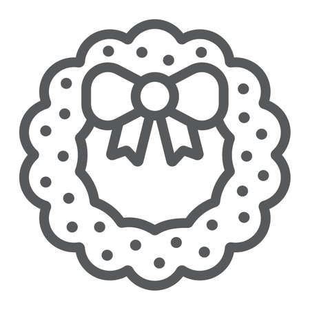 Christmas wreath with bow line icon, christmas and decor, holiday wreath sign, vector graphics, a linear pattern on a white background. Ilustração