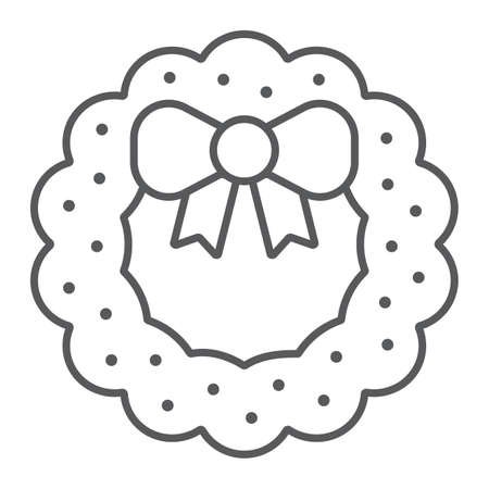 Christmas wreath with bow thin line icon, christmas and decor, holiday wreath sign, vector graphics, a linear pattern on a white background. Imagens - 130156447
