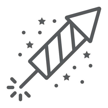 Christmas firework line icon, party and new year, firecracker sign, vector graphics, a linear pattern on a white background.  イラスト・ベクター素材