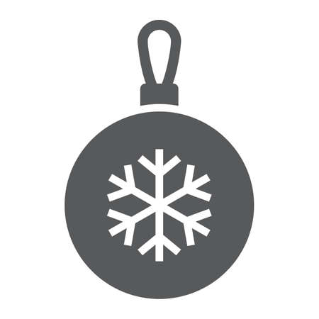 Christmas tree ball glyph icon, party and new year, glass toy sign, vector graphics, a solid pattern on a white background.  イラスト・ベクター素材