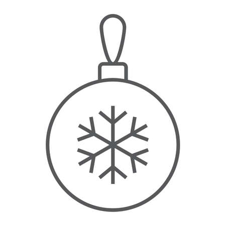 Christmas tree ball thin line icon, party and new year, glass toy sign, vector graphics, a linear pattern on a white background.  イラスト・ベクター素材