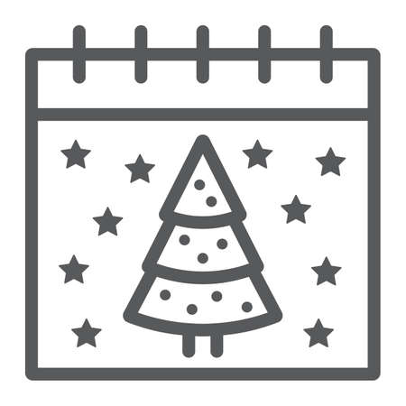 Christmas calendar line icon, date and new year, present and calendar sign, vector graphics, a linear pattern on a white background.