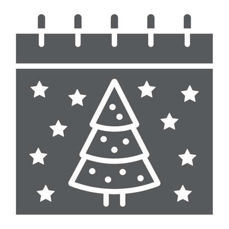 Christmas calendar glyph icon, date and new year, present and calendar sign, vector graphics, a solid pattern on a white background.  イラスト・ベクター素材