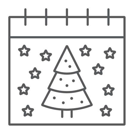 Christmas calendar thin line icon, date and new year, present and calendar sign, vector graphics, a linear pattern on a white background.
