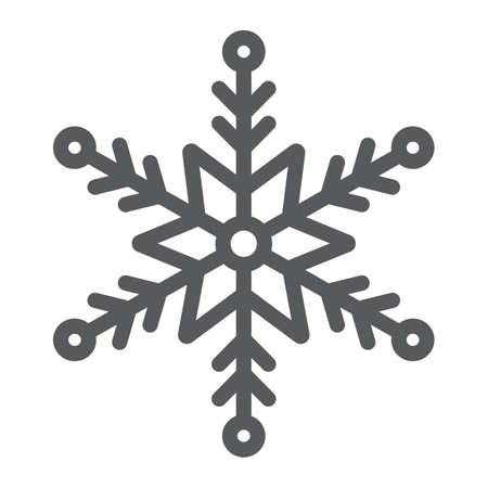 Snowflake line icon, winter and ice, snow sign, vector graphics, a linear pattern on a white background. Banque d'images - 130156813