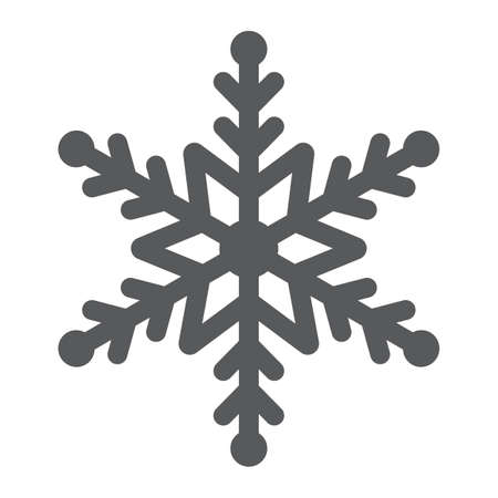 Snowflake glyph icon, winter and ice, snow sign, vector graphics, a solid pattern on a white background. Banque d'images - 130156814