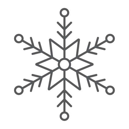 Snowflake thin line icon, winter and ice, snow sign, vector graphics, a linear pattern on a white background.