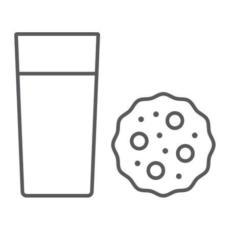Milk and cookie thin line icon, dessert and sweet, food sign, vector graphics, a linear pattern on a white background.