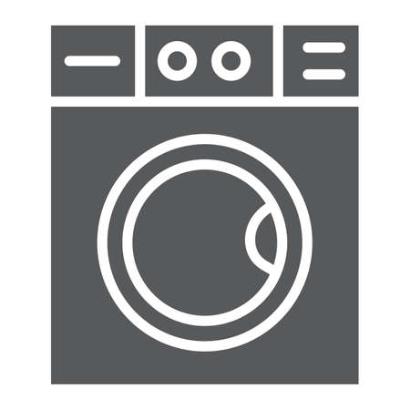 Washing machine glyph icon, laundry and housekeeping, washer sign, vector graphics, a solid pattern on a white background.