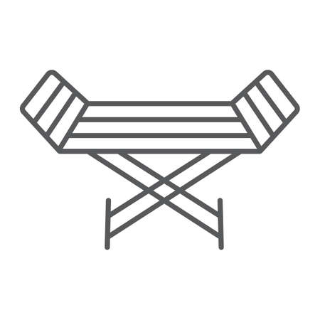 Metal clothes dryer thin line icon, laundry and housekeeping, rack dryer sign, vector graphics, a linear pattern on a white background. Illustration
