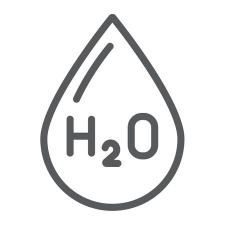Water formula line icon, chemical and water, h2o drop sign, vector graphics, a linear pattern on a white background.