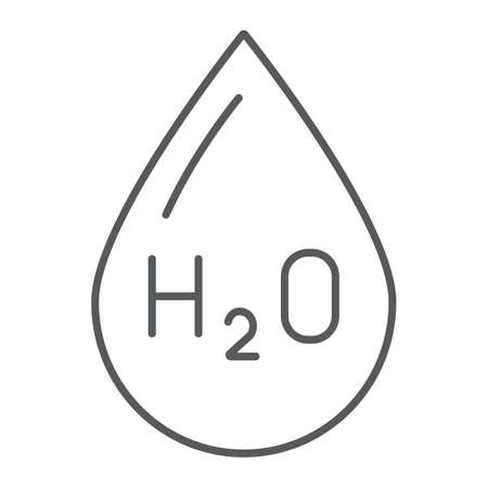 Water formula thin line icon, chemical and water, h2o drop sign, vector graphics, a linear pattern on a white background.