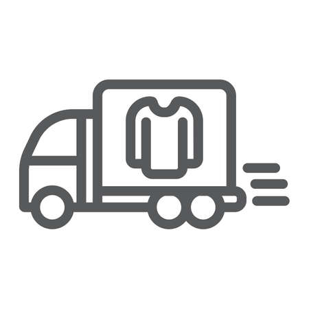 Laundry service delivery line icon, laundry and car, dry cleaning delivery sign, vector graphics, a linear pattern on a white background.