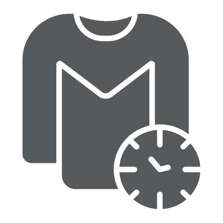 Washing time glyph icon, laundry and housekeeping, clock and shirt sign, vector graphics, a solid pattern on a white background.