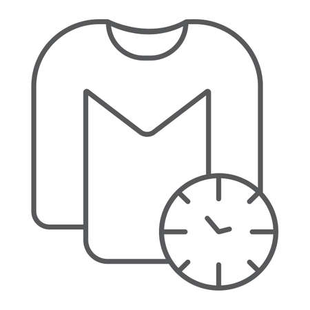 Washing time thin line icon, laundry and housekeeping, clock and shirt sign, vector graphics, a linear pattern on a white background.