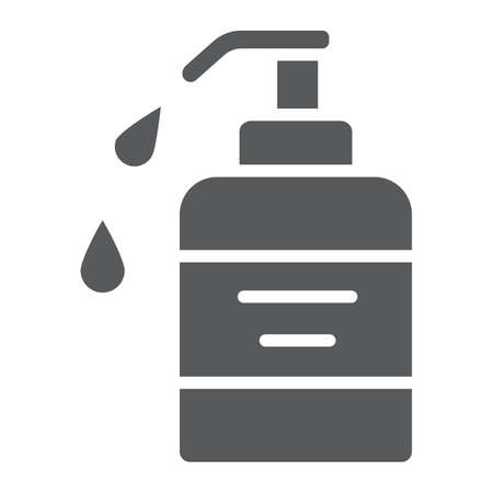 Liquid soap glyph icon, cosmetic and care, dispenser pump sign, vector graphics, a solid pattern on a white background.