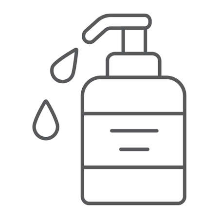 Liquid soap thin line icon, cosmetic and care, dispenser pump sign, vector graphics, a linear pattern on a white background. Illustration