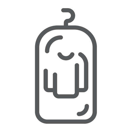 Clothes cover line icon, apparel and suit, storage for clothing sign, vector graphics, a linear pattern on a white background. 스톡 콘텐츠 - 130157759