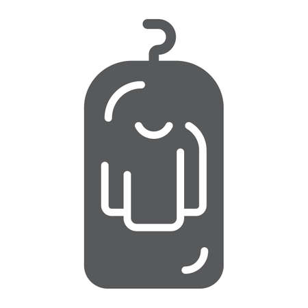 Clothes cover glyph icon, apparel and suit, storage for clothing sign, vector graphics, a solid pattern on a white background. 스톡 콘텐츠 - 130157760